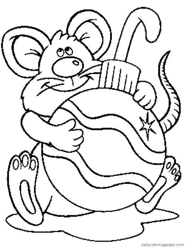 Раскраска Елочная игрушка и мышка Скачать игрушка, мышка, хвостик.  Распечатать ,Рождество,