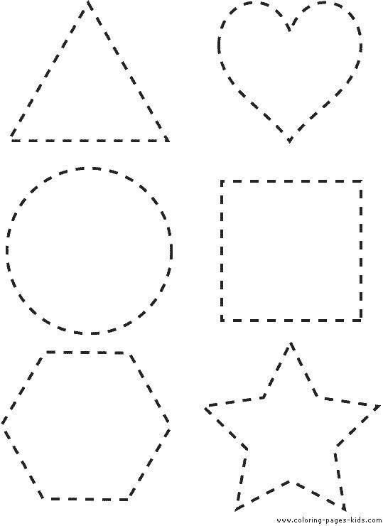 Раскраска Фигуры пунктиром Скачать ,квадрат, круг, треугольник,.  Распечатать