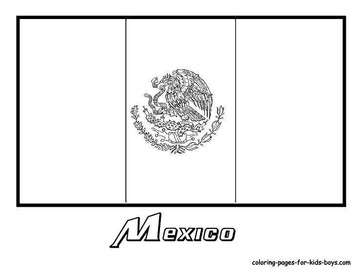 Раскраска Флаг мексики Скачать флаг, Мексика.  Распечатать ,раскраски,