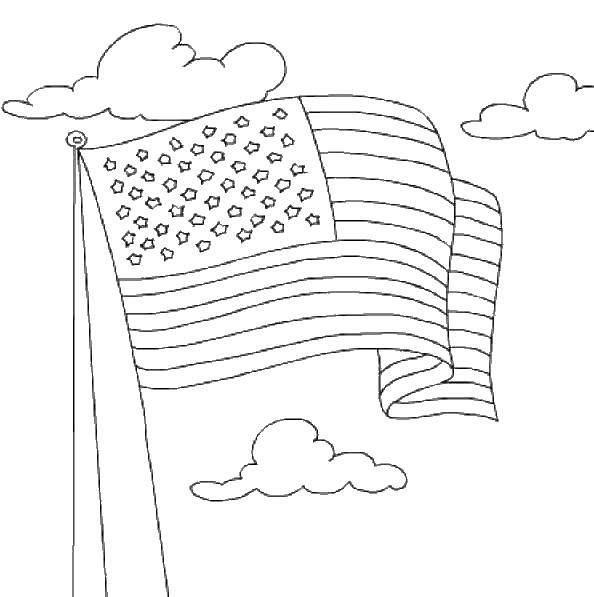 Раскраска Флаг сша и облака Скачать флаг, Америка, облака.  Распечатать ,раскраски,