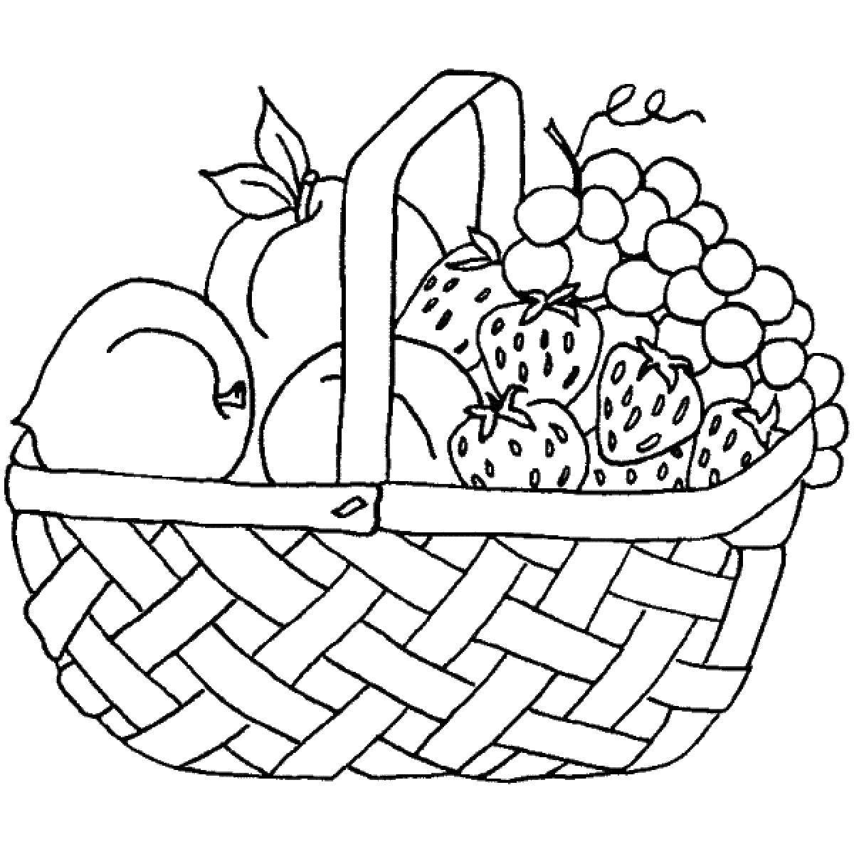 Раскраска Фрукты и ягоды в корзине Скачать корзина, фрукты, ягоды.  Распечатать ,фрукты,