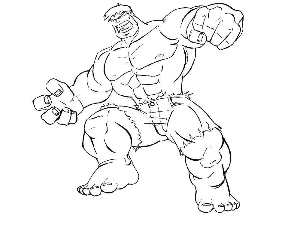 Раскраска Халк и его мускулы Скачать халк, мускулы, шорты.  Распечатать ,супергерои,