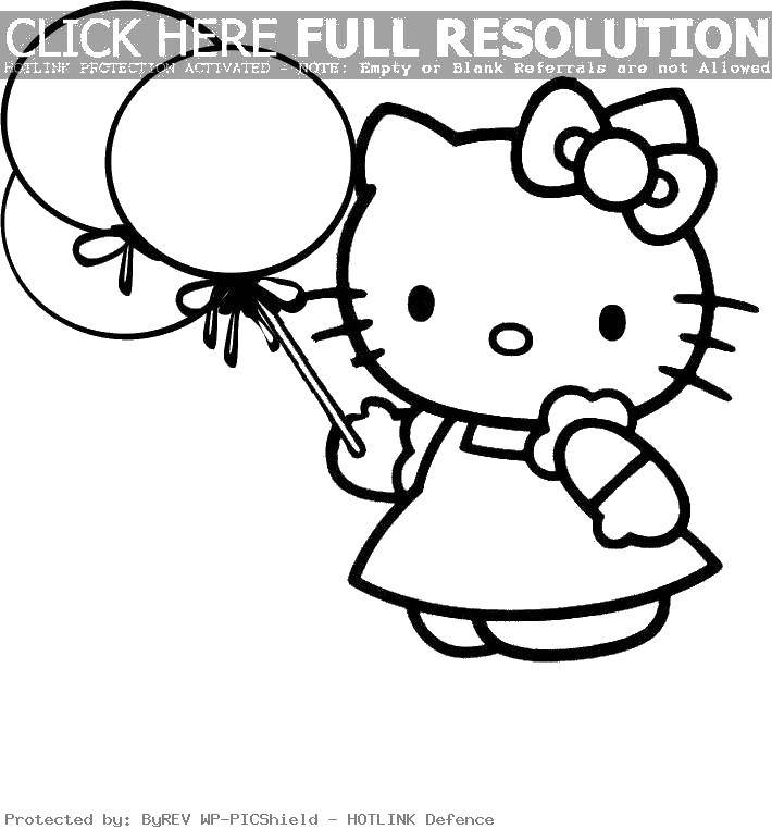 Раскраска Hello kitty с шариками. Скачать Hello Kitty, платье, шарики.  Распечатать ,Hello Kitty,