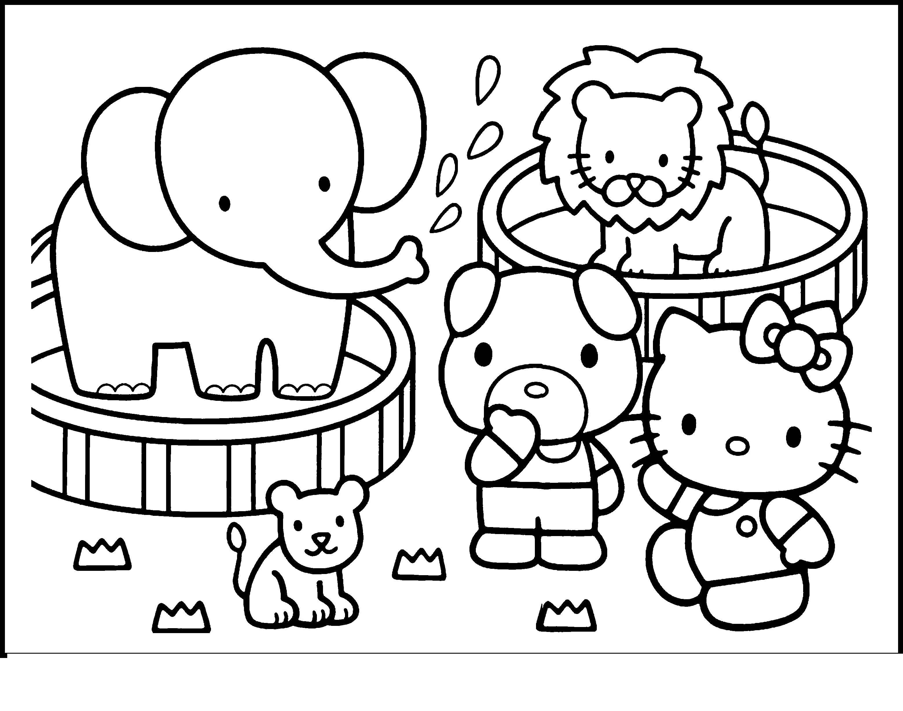 Раскраска Hello kitty в зоопарке Скачать ,Hello Kitty, слон, тигр,.  Распечатать