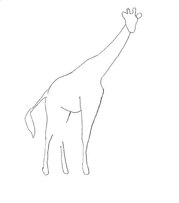 Раскраска Контур жирафа для вырезания Скачать кирби, мультики.  Распечатать ,Кирби,