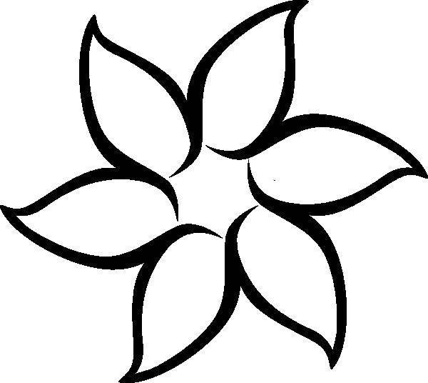 Раскраска Контур шести лепестков. Скачать лепестки, цветы, бутоны.  Распечатать ,Контуры цветка для вырезания,