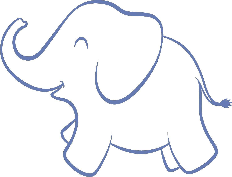 Раскраска Контур слоника Скачать контру, слоненок, бивни, хобот.  Распечатать ,контуры слона для вырезания,