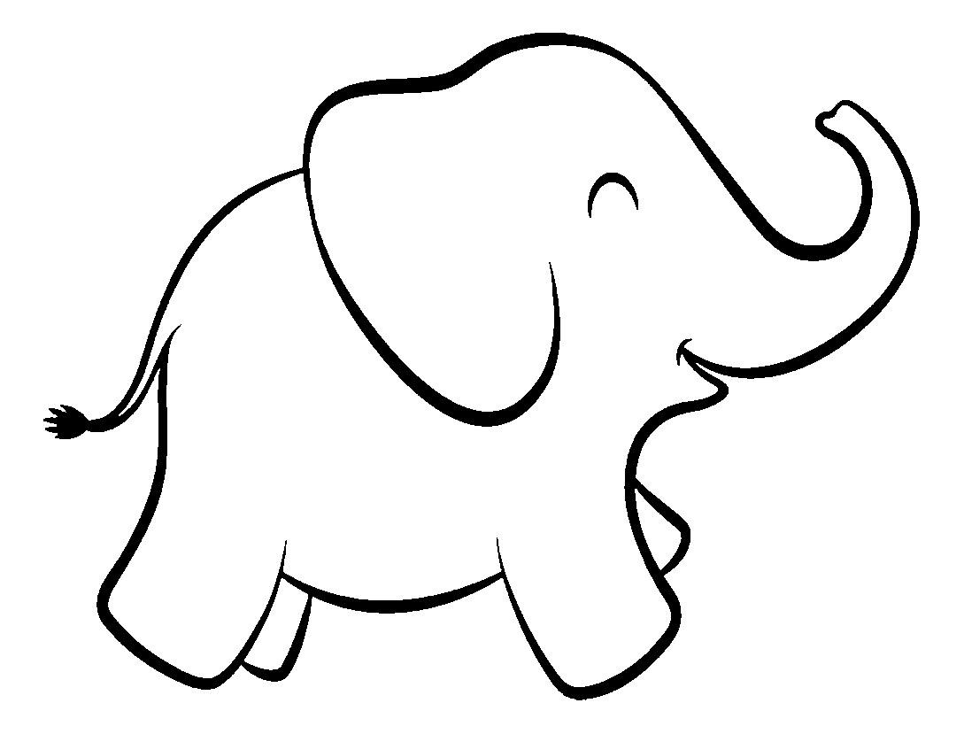 Раскраска Контур улыбающегося слона Скачать слон, хобот, хвост.  Распечатать ,контуры слона для вырезания,