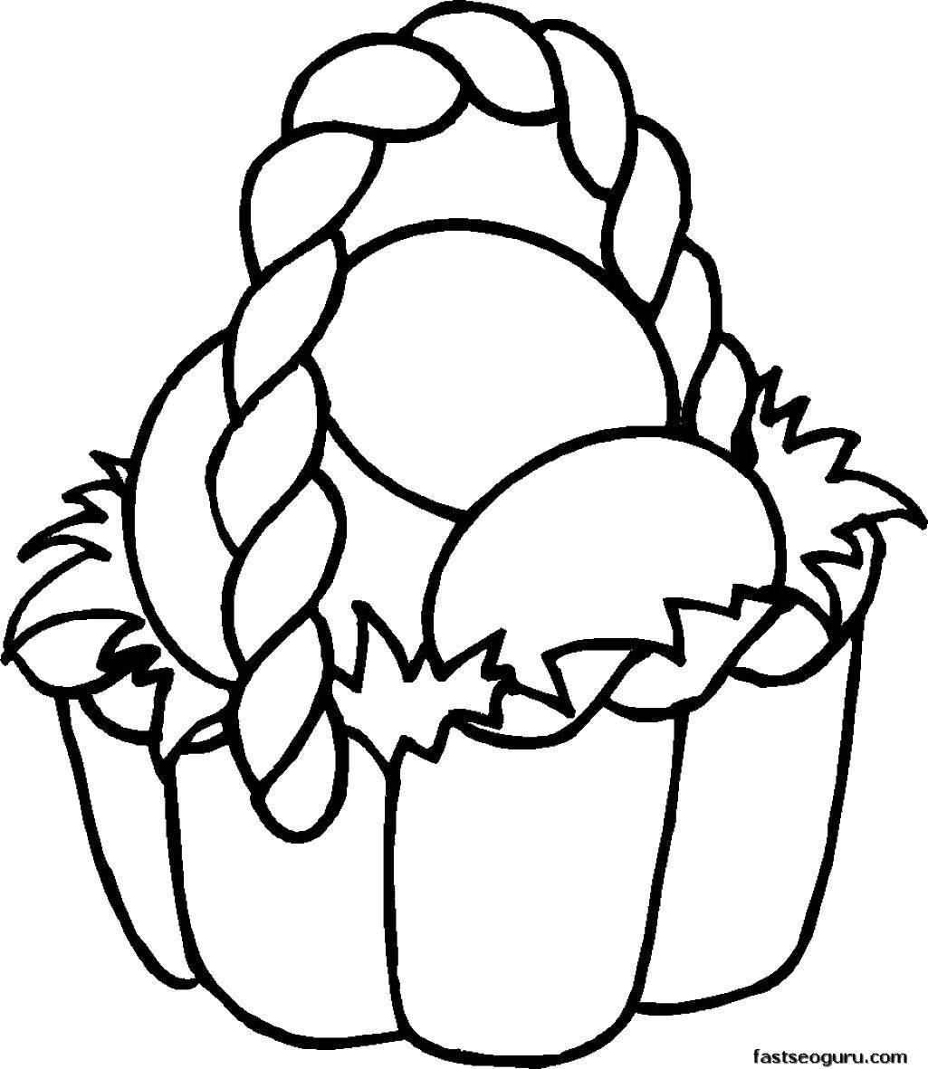 Раскраска Корзинка и пасхальные яйца Скачать корзина, яйца.  Распечатать ,пасхальные яйца,