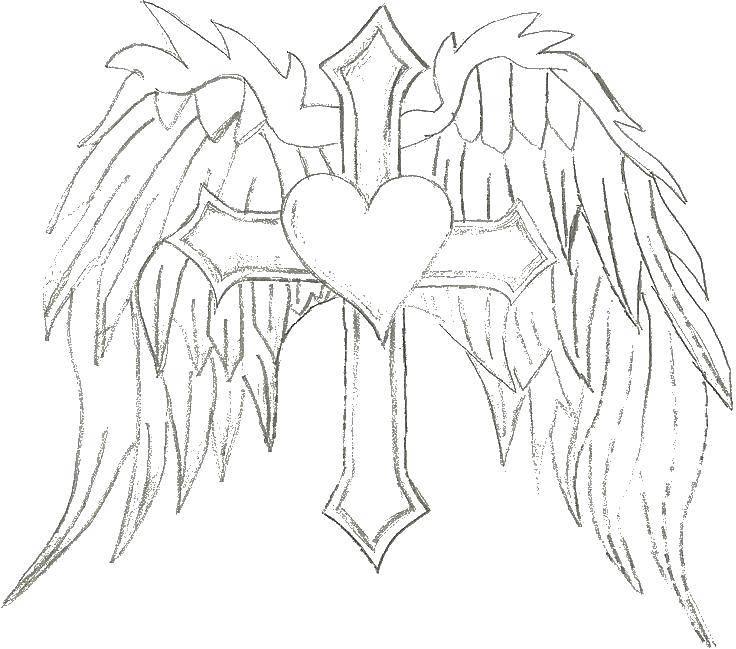 Раскраска Крест с крыльями и сердцем. Скачать крест, крылья, сердце.  Распечатать ,раскраски,