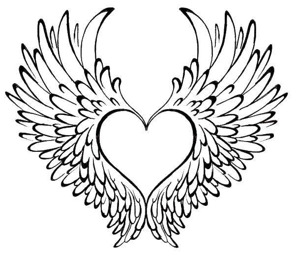 Раскраска Крылатое сердце. Скачать крылья, сердце.  Распечатать ,раскраски,