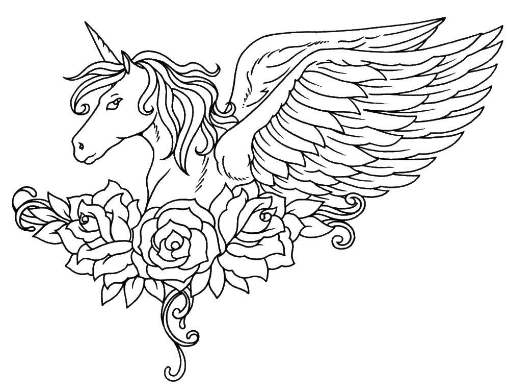 Раскраска Крылатый единорог и розы Скачать единорог, крылья, розы.  Распечатать ,единороги,