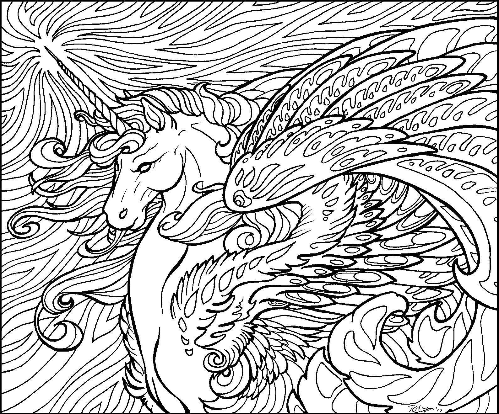 Раскраска Крылатый единорог и узоры. Скачать единорог, крылья, хвост.  Распечатать ,раскраски,