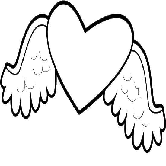 Раскраска Крылья с перьями и сердце. Скачать крылья, сердце.  Распечатать ,раскраски,