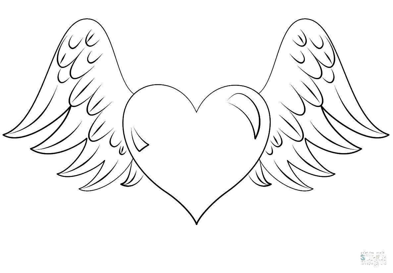 Раскраска Крылышки и сердце. Скачать крылья, сердце.  Распечатать ,раскраски,