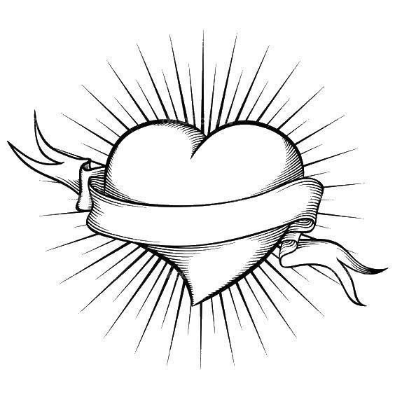Раскраска Ленточка и сердечки. Скачать сердце, лента.  Распечатать ,Сердечки,