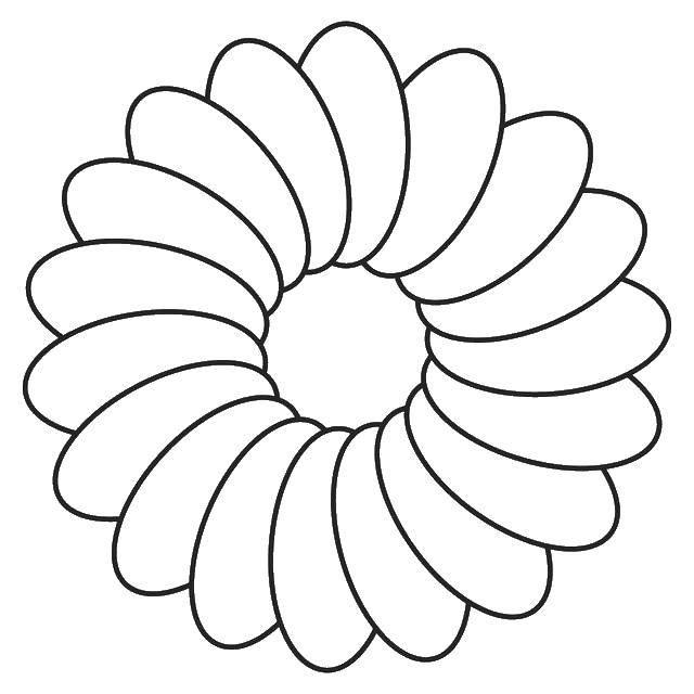 Раскраска Лепестки ромашки. Скачать контур, ромашка, лепестки.  Распечатать ,Контуры цветка для вырезания,