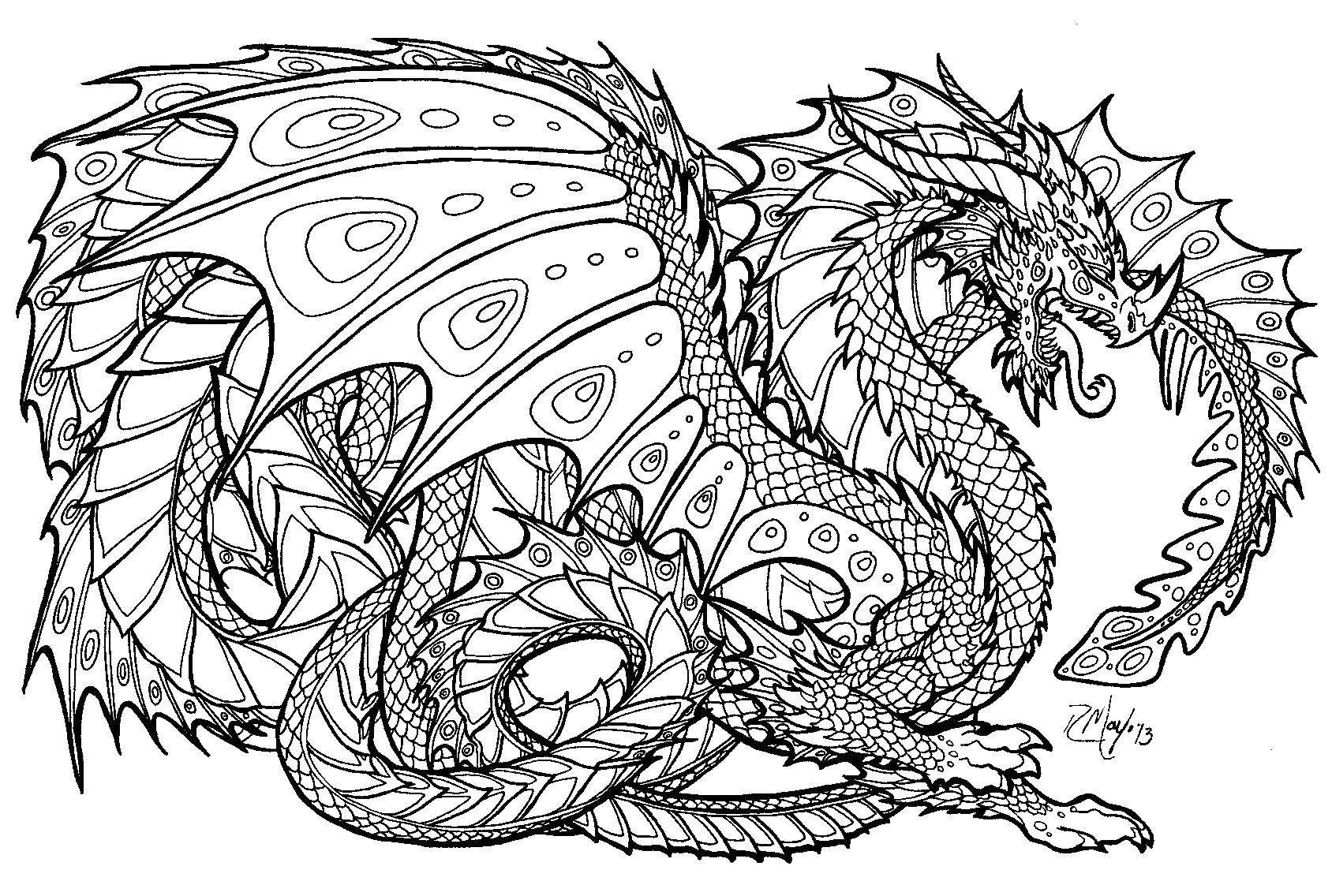 Раскраска Летающий дракон и узоры. Скачать дракон, крылья, узоры.  Распечатать ,дракон,