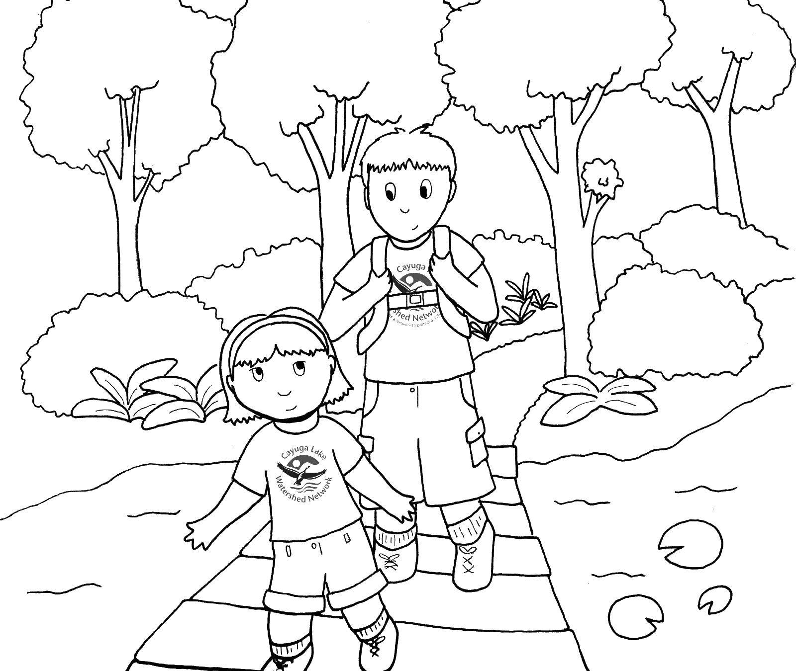 Раскраска Мальчик и девочка Скачать отдых, природа, дети, поход.  Распечатать ,Отдых на природе,