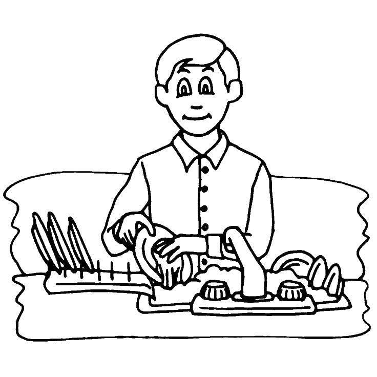 Раскраска Мальчик моет посуда Скачать ,убора, мытье, посуда,.  Распечатать