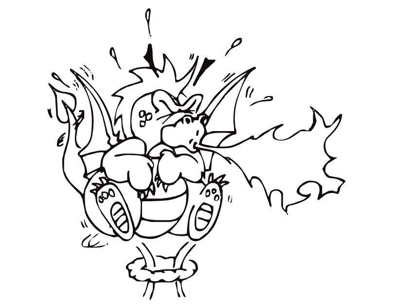 Раскраска Маленький дракоша и огонь Скачать дракон, огонь, крылья.  Распечатать ,Огонь,