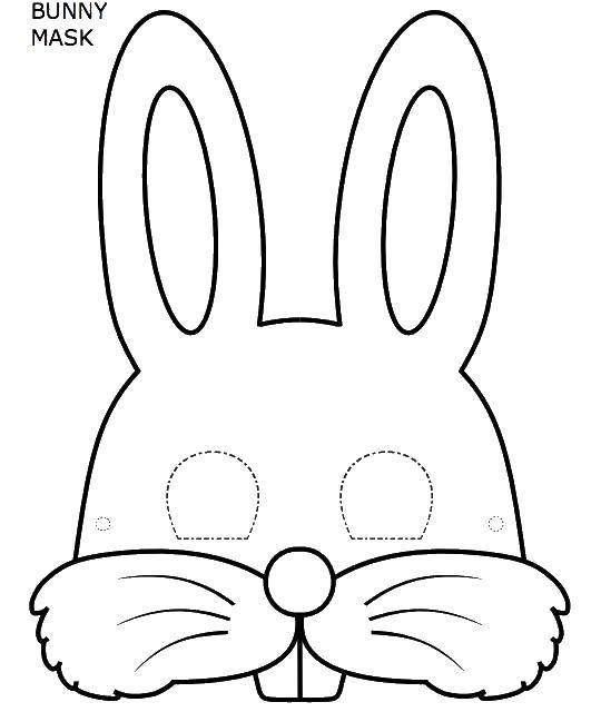 Раскраска Маска кролика Скачать маска, кролик, зубы, ушки.  Распечатать ,Контур зайца для вырезания,