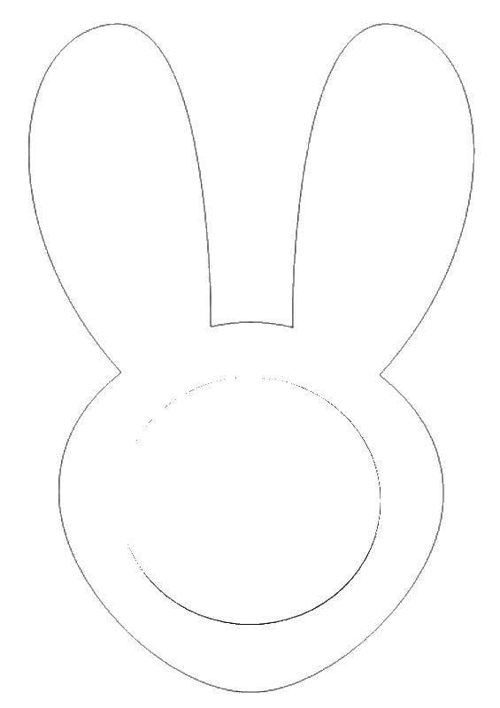 Раскраска Маска зайца Скачать заяц, ушки.  Распечатать ,Контур зайца для вырезания,