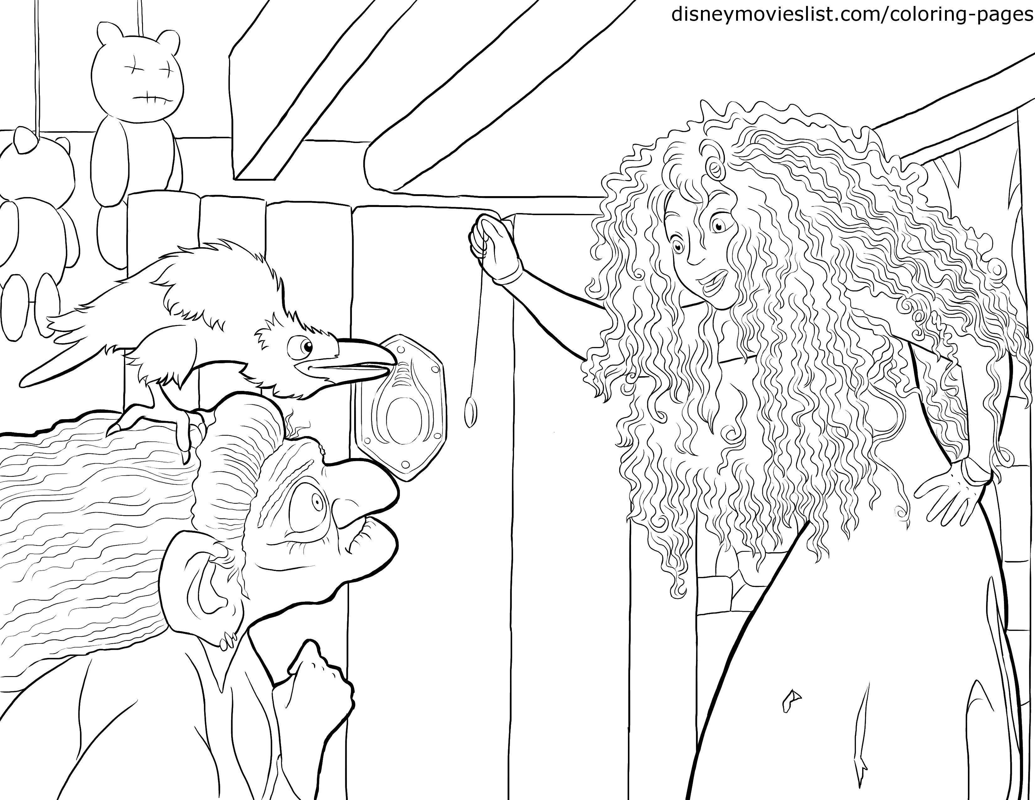 Раскраска Мерида и ведьма с вороной. Скачать Мерида, ведьма, ворона.  Распечатать ,храбрая сердцем,