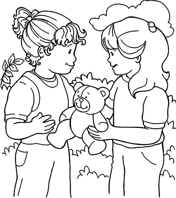Раскраска Мишка и две девочки Скачать девочки, мишка, кусты.  Распечатать ,дети,
