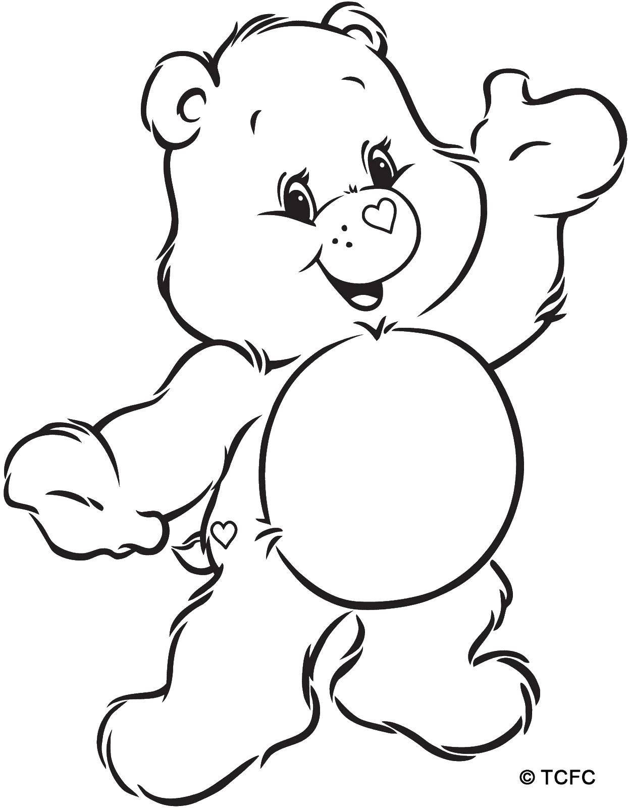 Раскраска Мишка с сердечками Скачать ,мишка, сердечки,.  Распечатать