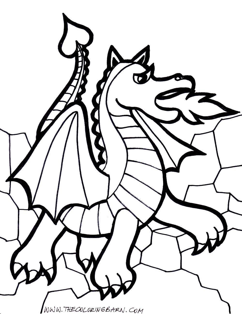 Раскраска Огнедышаший дракончик. Скачать огонь, драконы, дракон.  Распечатать ,Огонь,