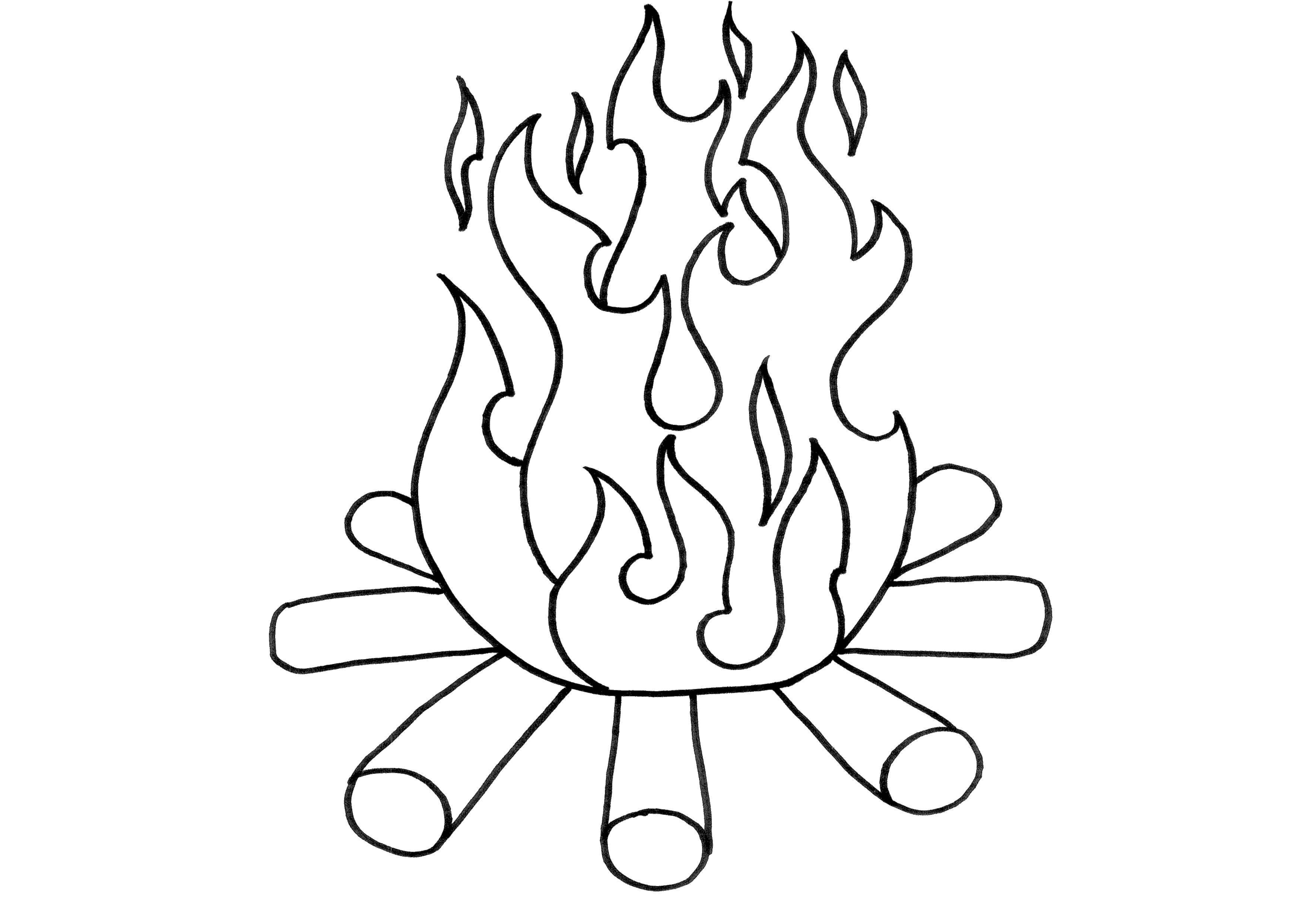 Раскраска Огонь Скачать огонь, пожар, дрова.  Распечатать ,Огонь,