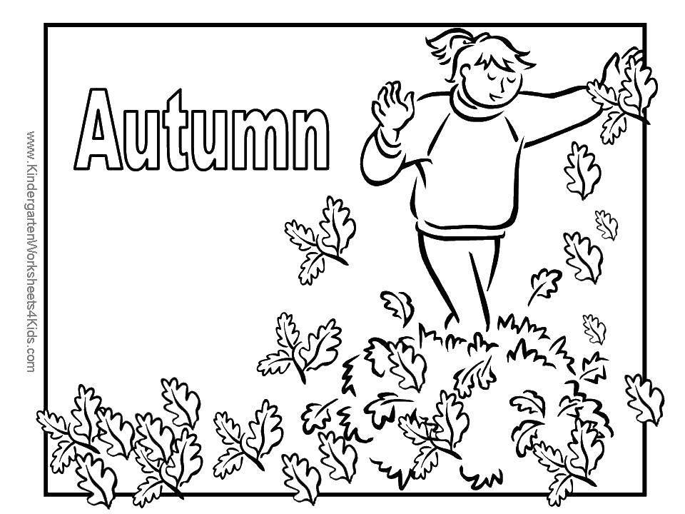 Раскраска Осень.. Скачать осень, листья, листва, девочка.  Распечатать ,Осень,