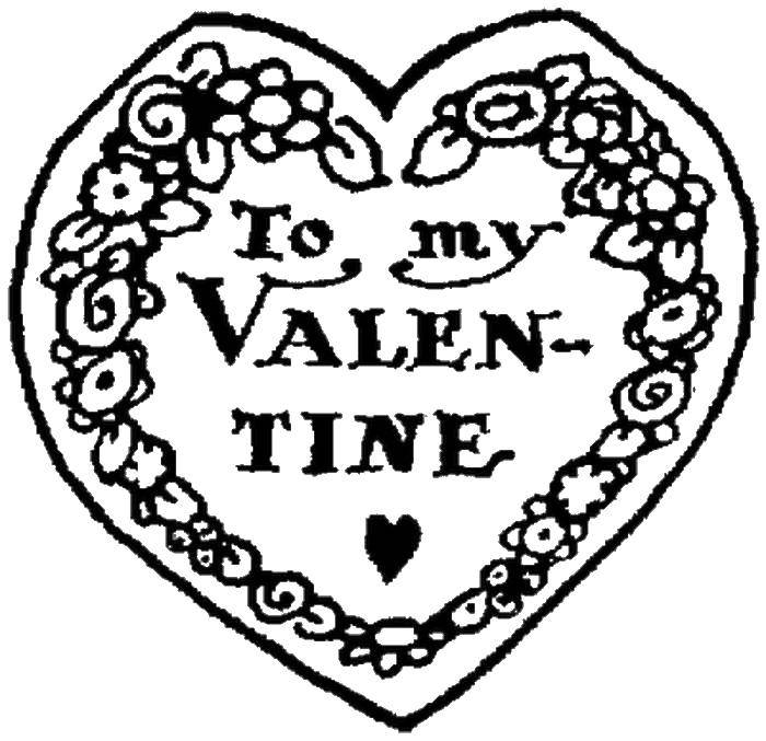 Раскраска Открытка к дню святого валентина. Скачать сердечко, открытка, валентинка.  Распечатать ,День святого валентина,