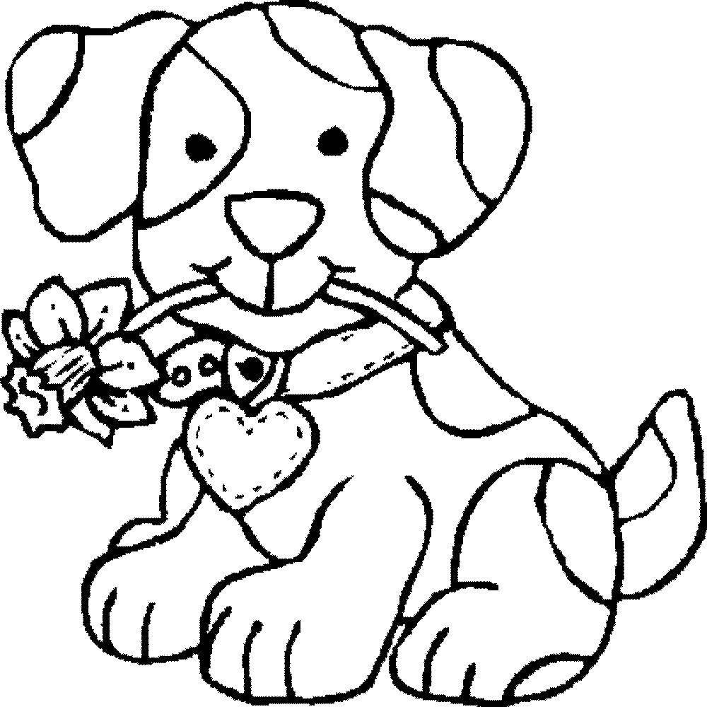 Раскраска Песик и цветочек. Скачать собака, пес, цветочек.  Распечатать ,собаки,