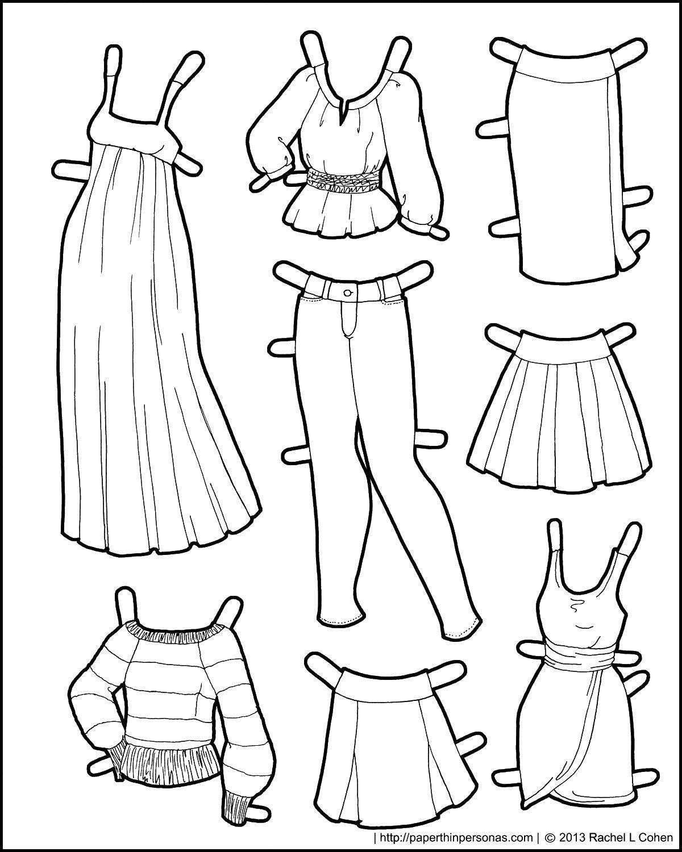 Раскраска Платья для бумажных кукол Скачать платье, джинсы, юбка.  Распечатать ,юбка,