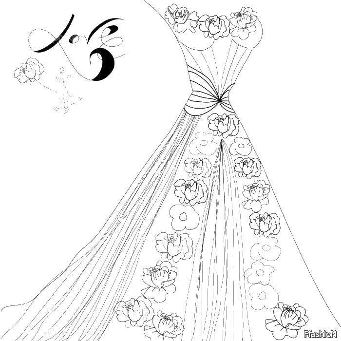 Раскраска Платья в цветах Скачать платье, цветы.  Распечатать ,свадебные платья,