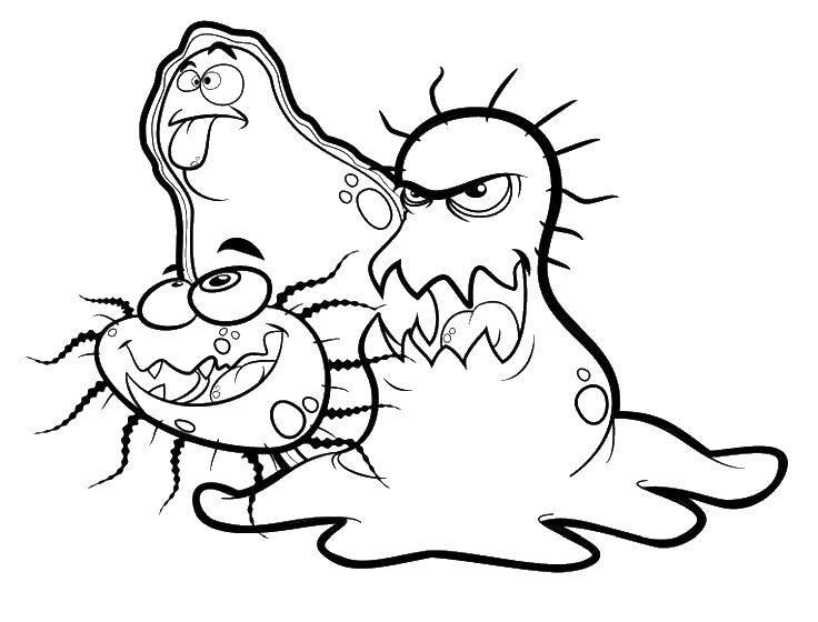 Раскраска Плохие микробы Скачать ,микробы, бактерии, грязь,.  Распечатать