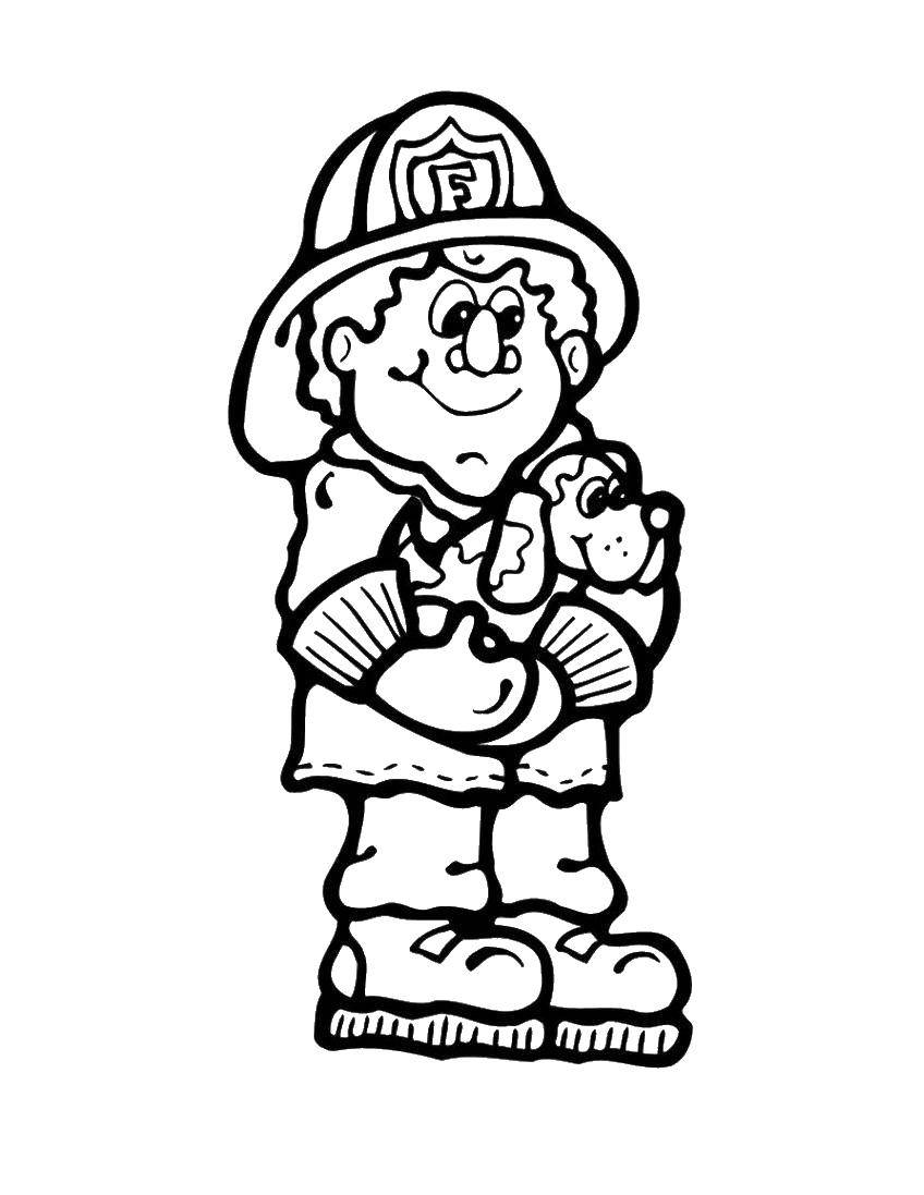 Раскраска Пожарный и собака Скачать пожарный, собака, каска.  Распечатать ,Огонь,