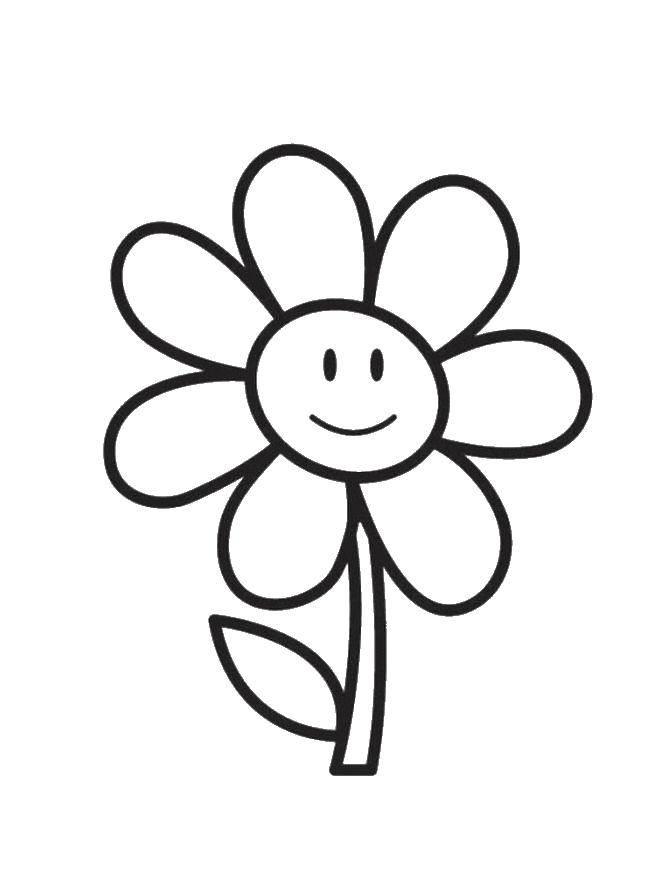 Раскраска Ромашка с улыбкой Скачать ромашка, листок, улыбка.  Распечатать ,цветы,