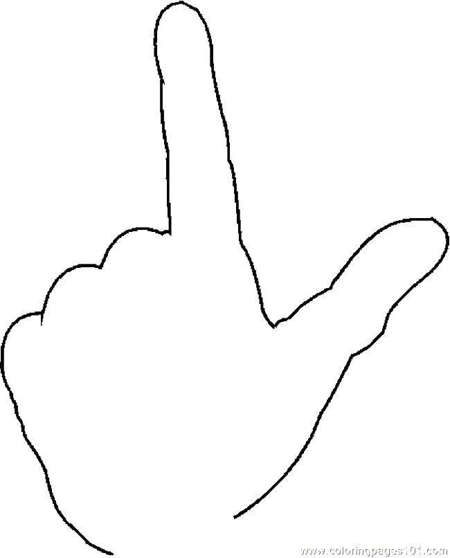 Раскраска Рука с большим и указательным пальцами Скачать ладони, пальцы.  Распечатать ,Контур руки и ладошки для вырезания,