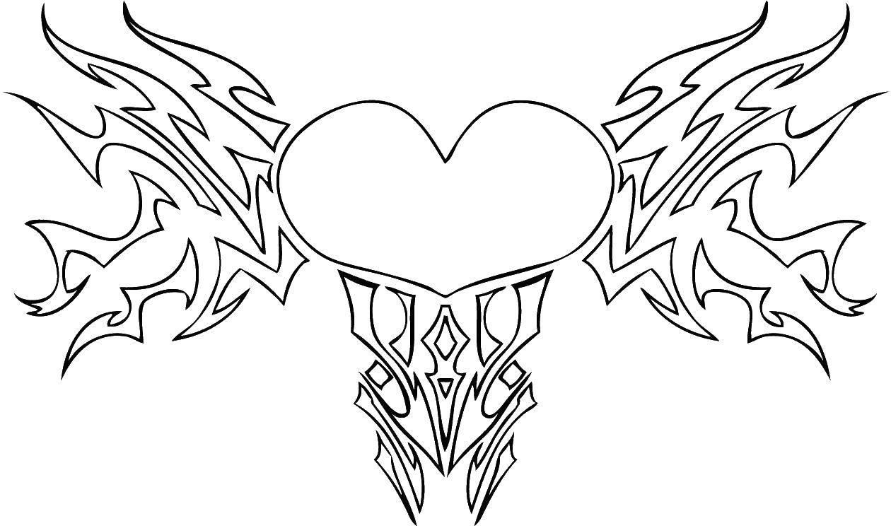 Раскраска Сердце и языки пламя. Скачать сердце, крылья.  Распечатать ,раскраски,
