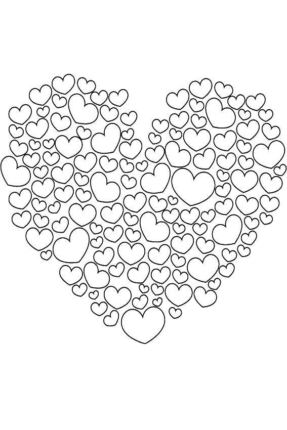 Раскраска Сердце из маленьких сердечек Скачать сердце, сердечки.  Распечатать ,Сердечки,