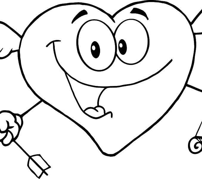 Раскраска Сердце с лицом Скачать сердце, стрела, глаза.  Распечатать ,Сердечки,