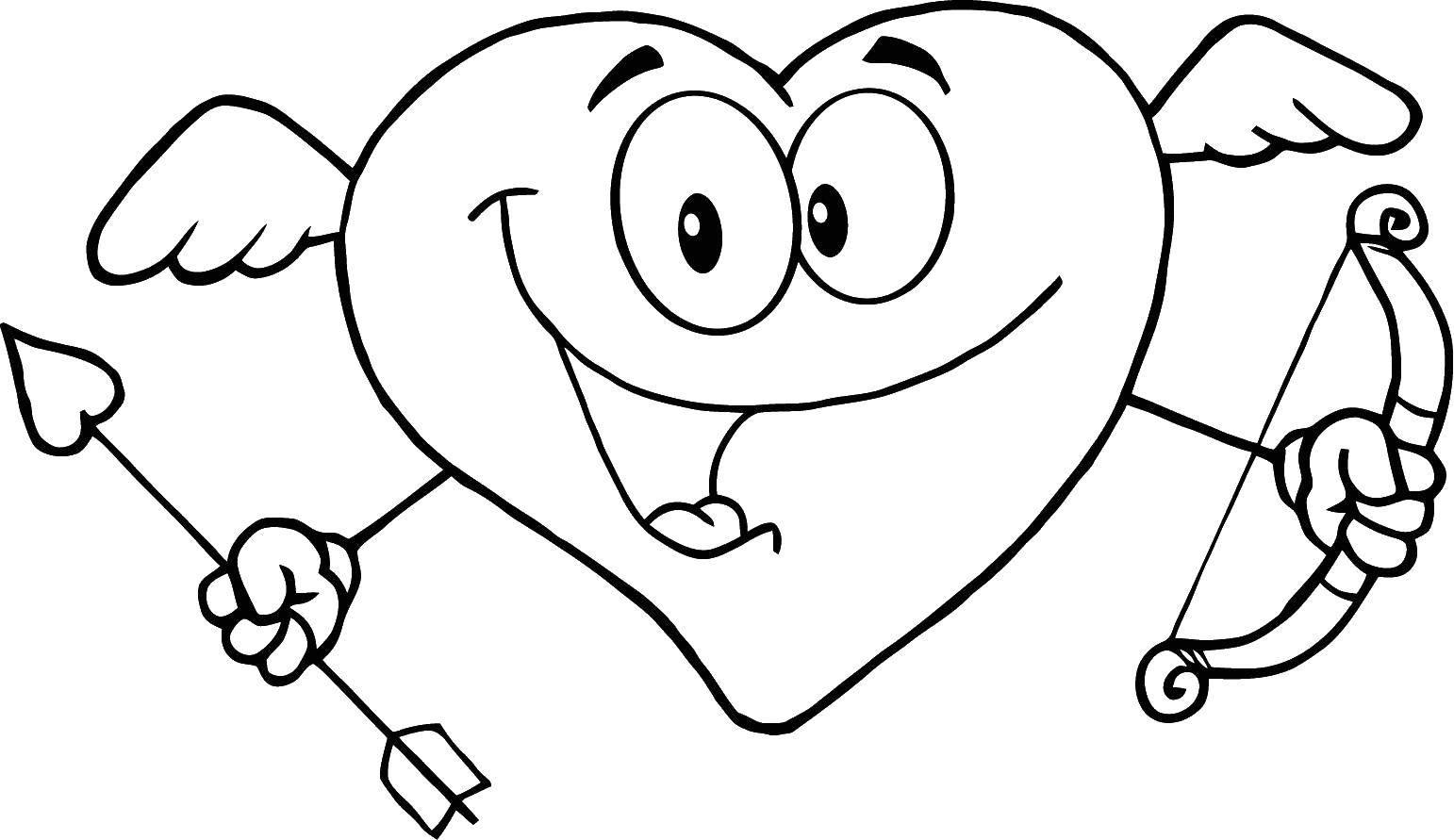 Раскраска Сердце с луком. Скачать сердчце, стрела, лук.  Распечатать ,Сердечки,