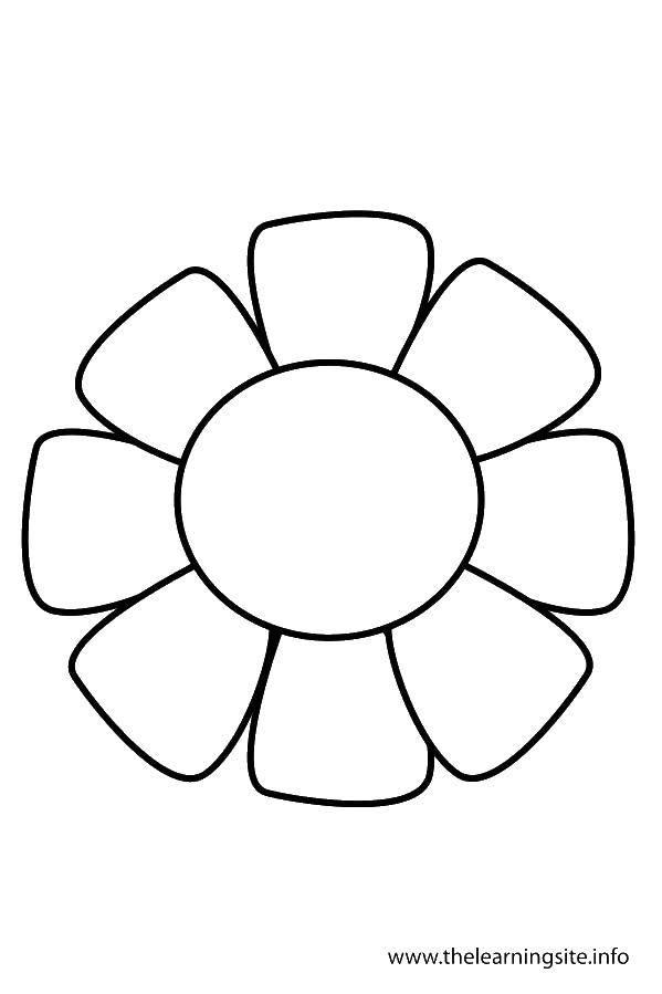 Раскраска Шаблон ромашки для вырезания Скачать контур, ромашка, лепестки.  Распечатать ,Контуры цветка для вырезания,