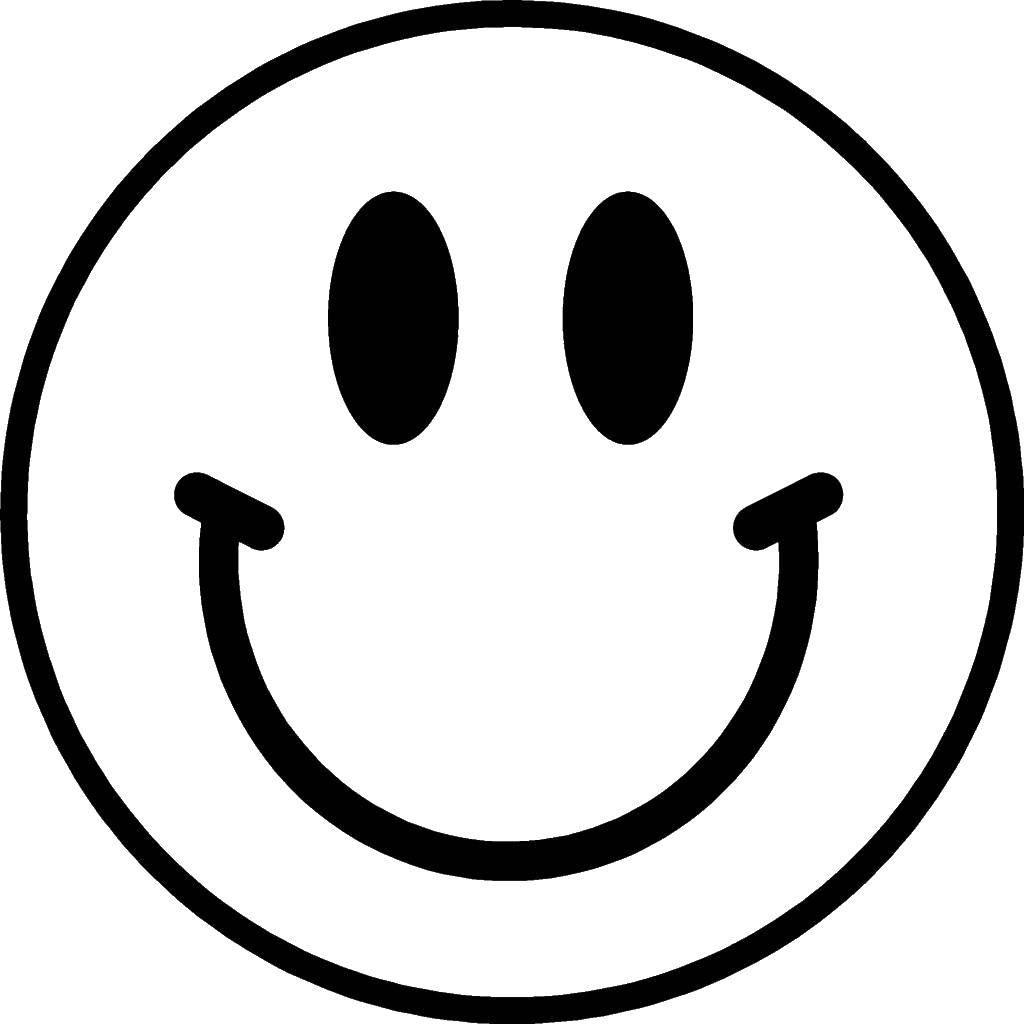 Раскраска Смайлик Скачать смайлики, улыбки.  Распечатать ,смайлики,