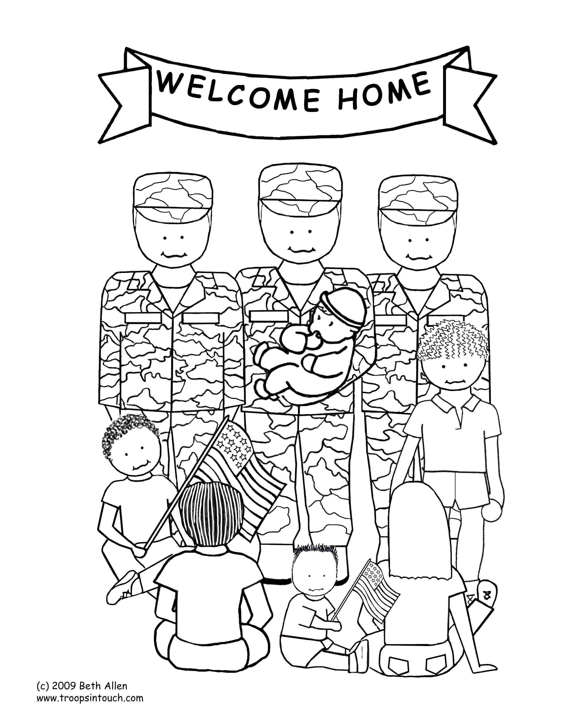 Раскраска Солдаты и дети Скачать солдаты, дети, флаги.  Распечатать ,раскраски,