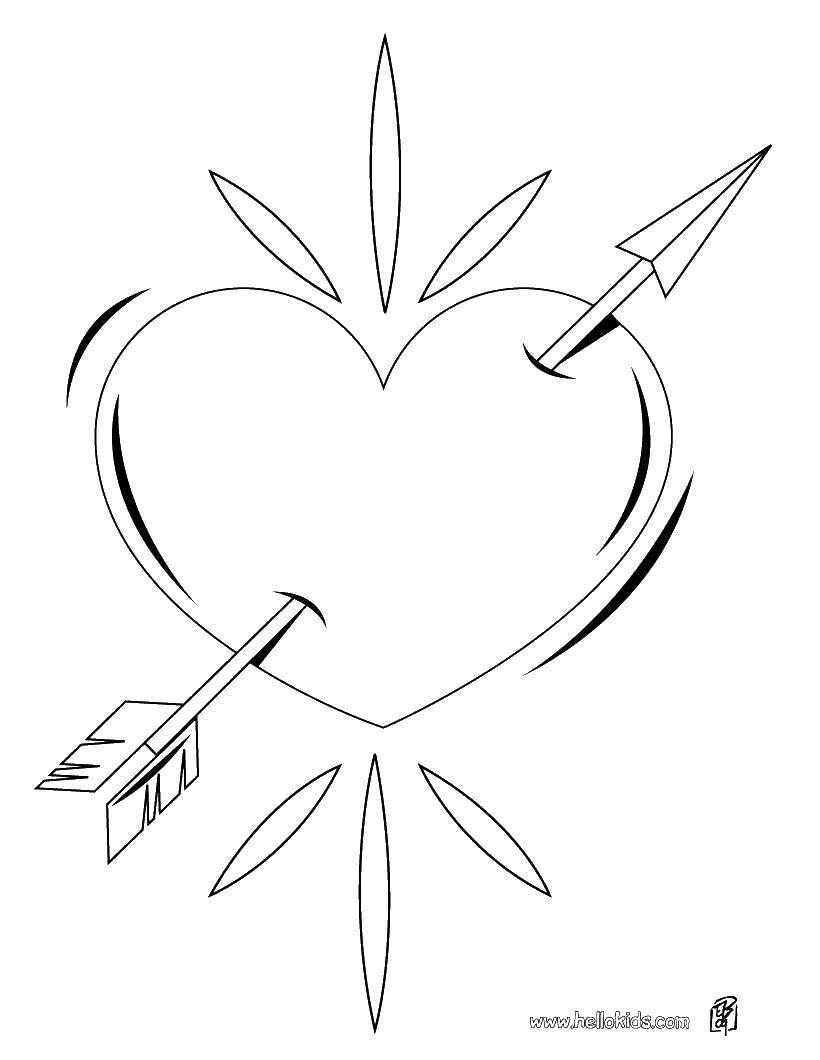 Раскраска Стрела и сердце. Скачать сердце, стрела.  Распечатать ,Сердечки,
