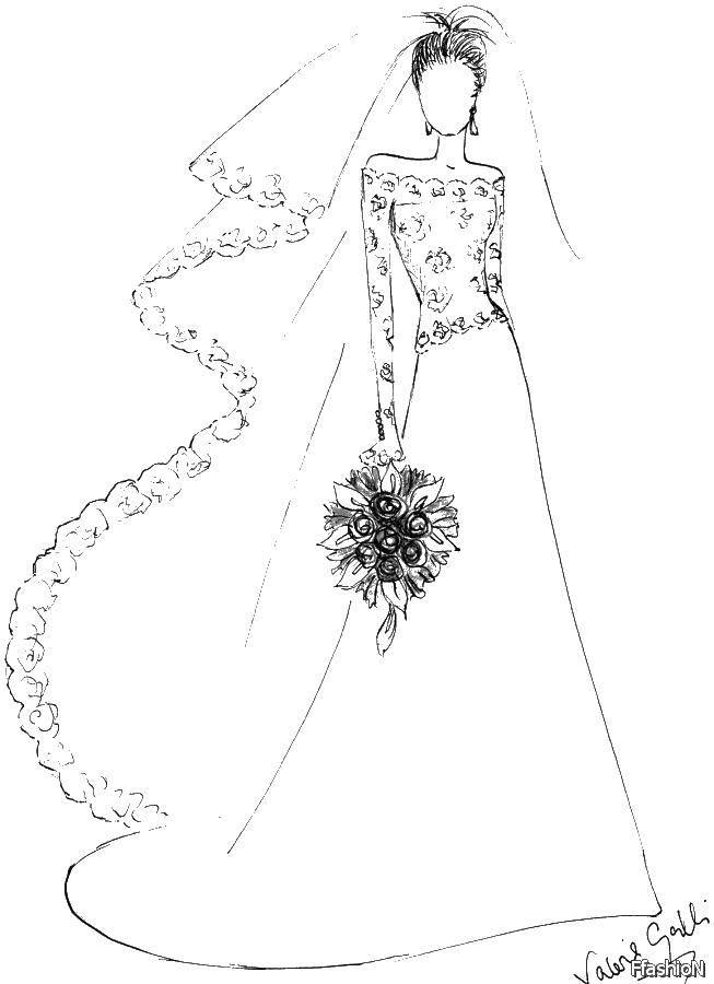 Раскраска Свадебное платье и букет Скачать платье, фата, букет.  Распечатать ,свадебные платья,